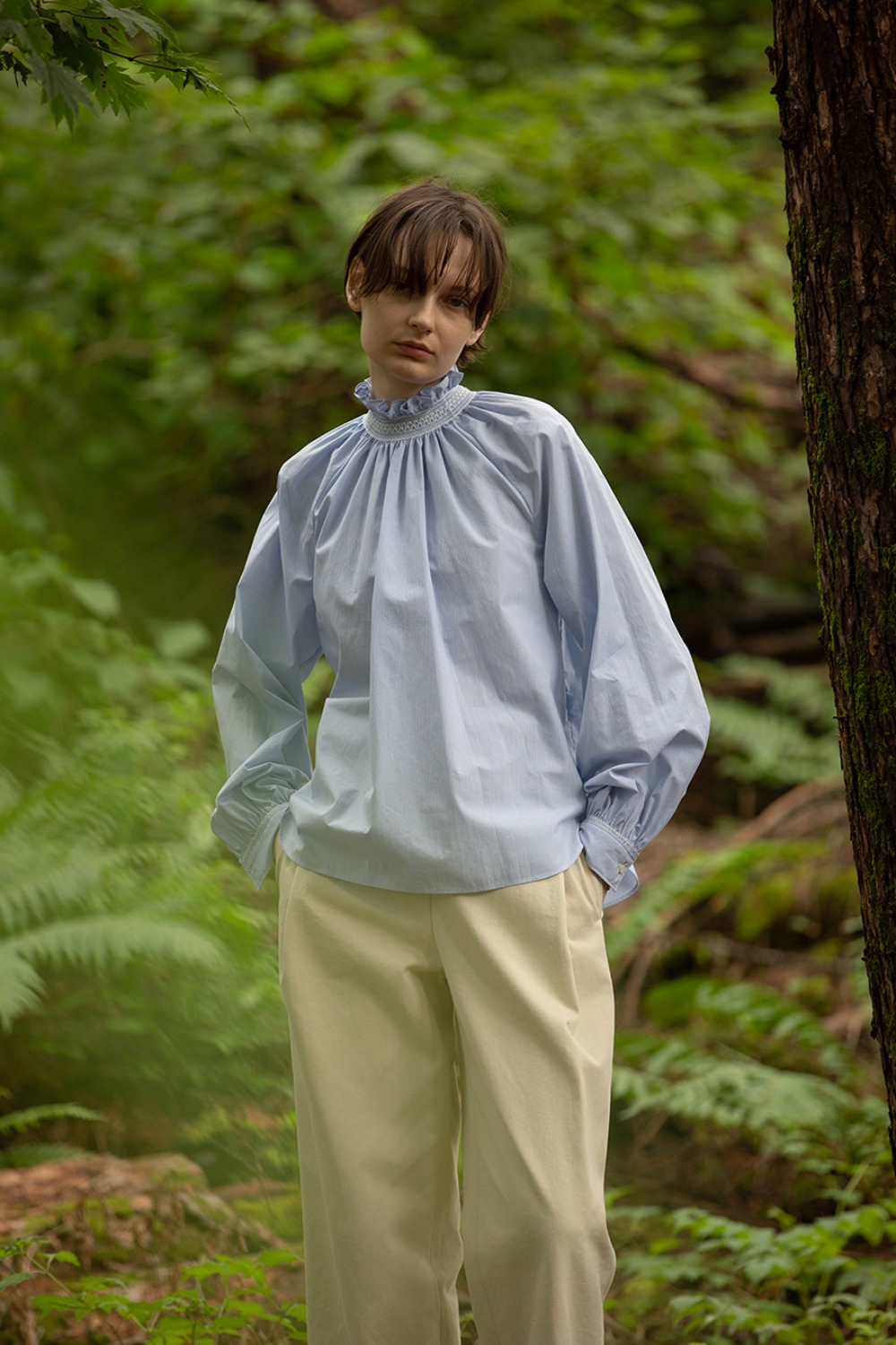 SMOCK BLOUSE BLUE STRIPE