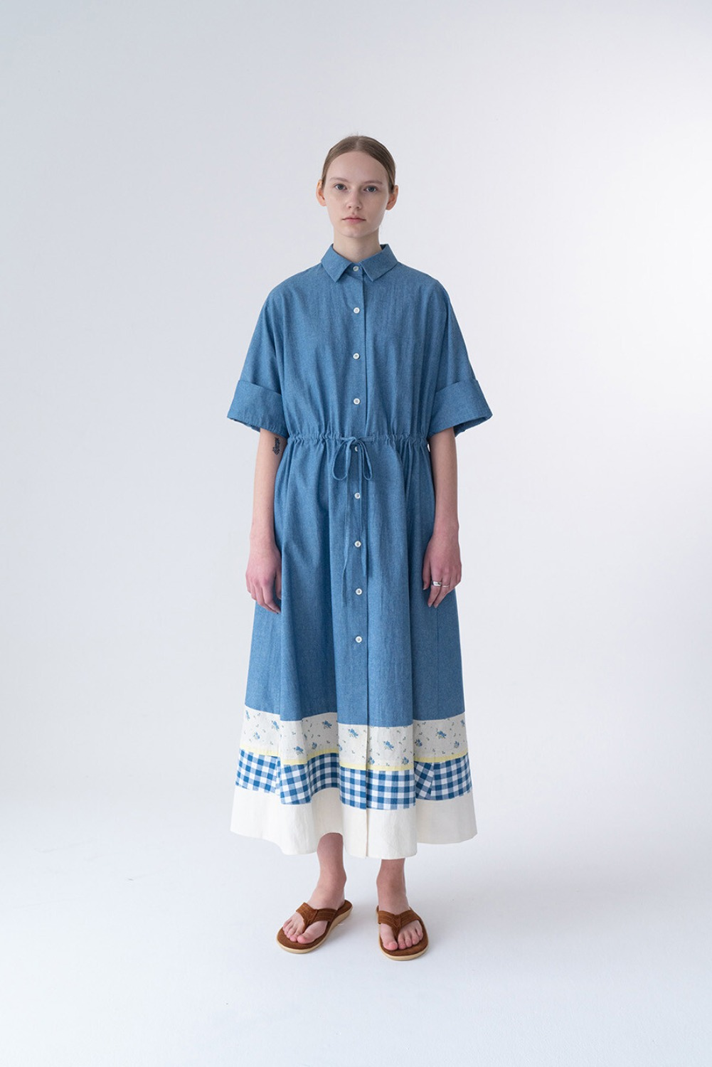 PATCHWORK DRESS-CHAMBRAY