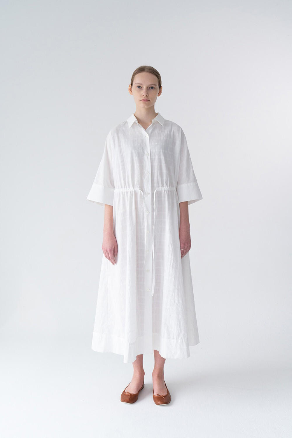 ELEVE SHIRT DRESS-WHITE CHECK
