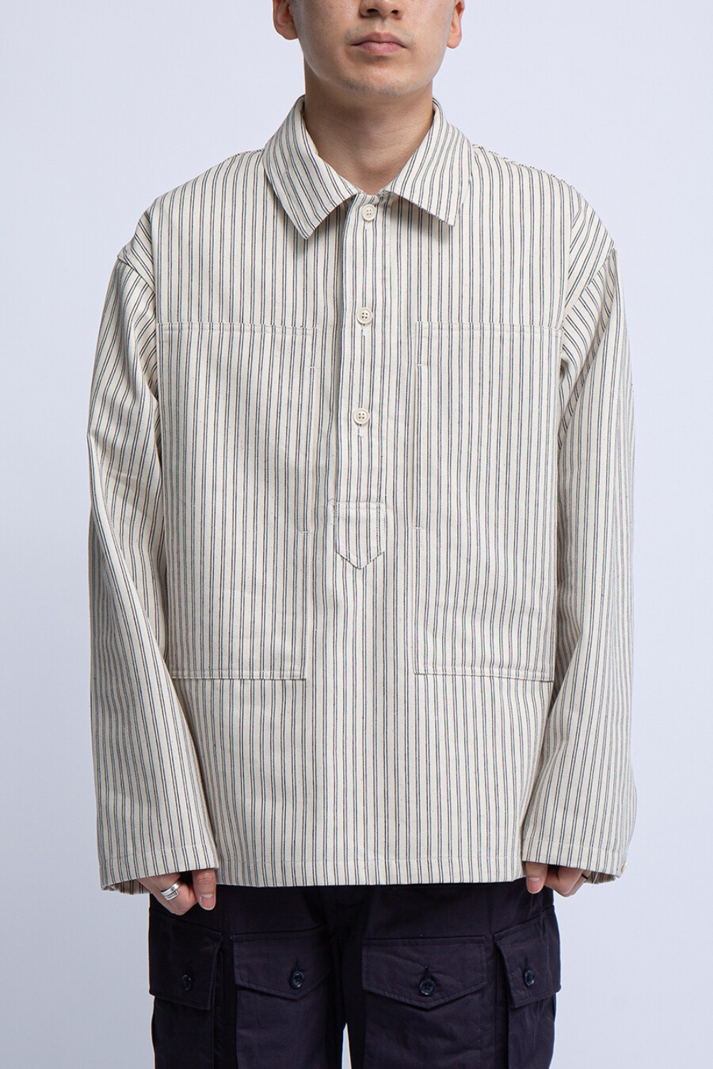 ARMY SHIRT NATURAL NAVY UNIFORM STRIPE