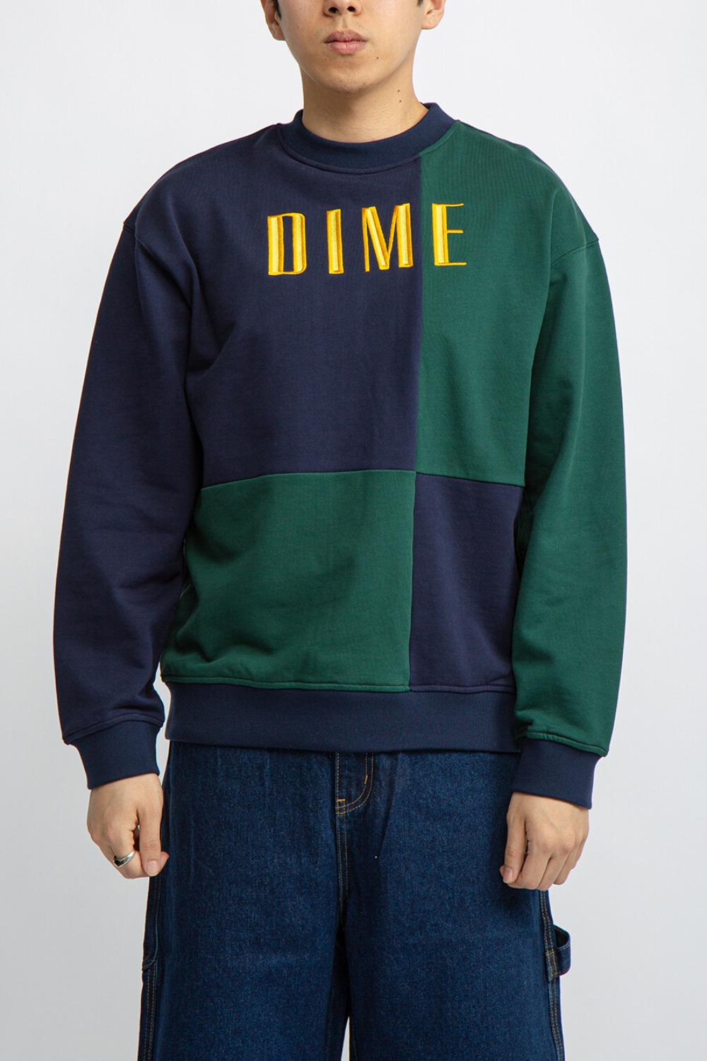 BLOCK TERRY CREWNECK NAVY/GREEN