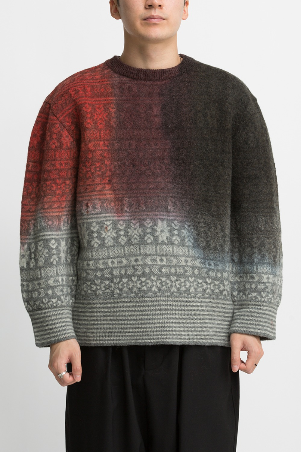 PAINTING JACQUARD SWEATER GREY