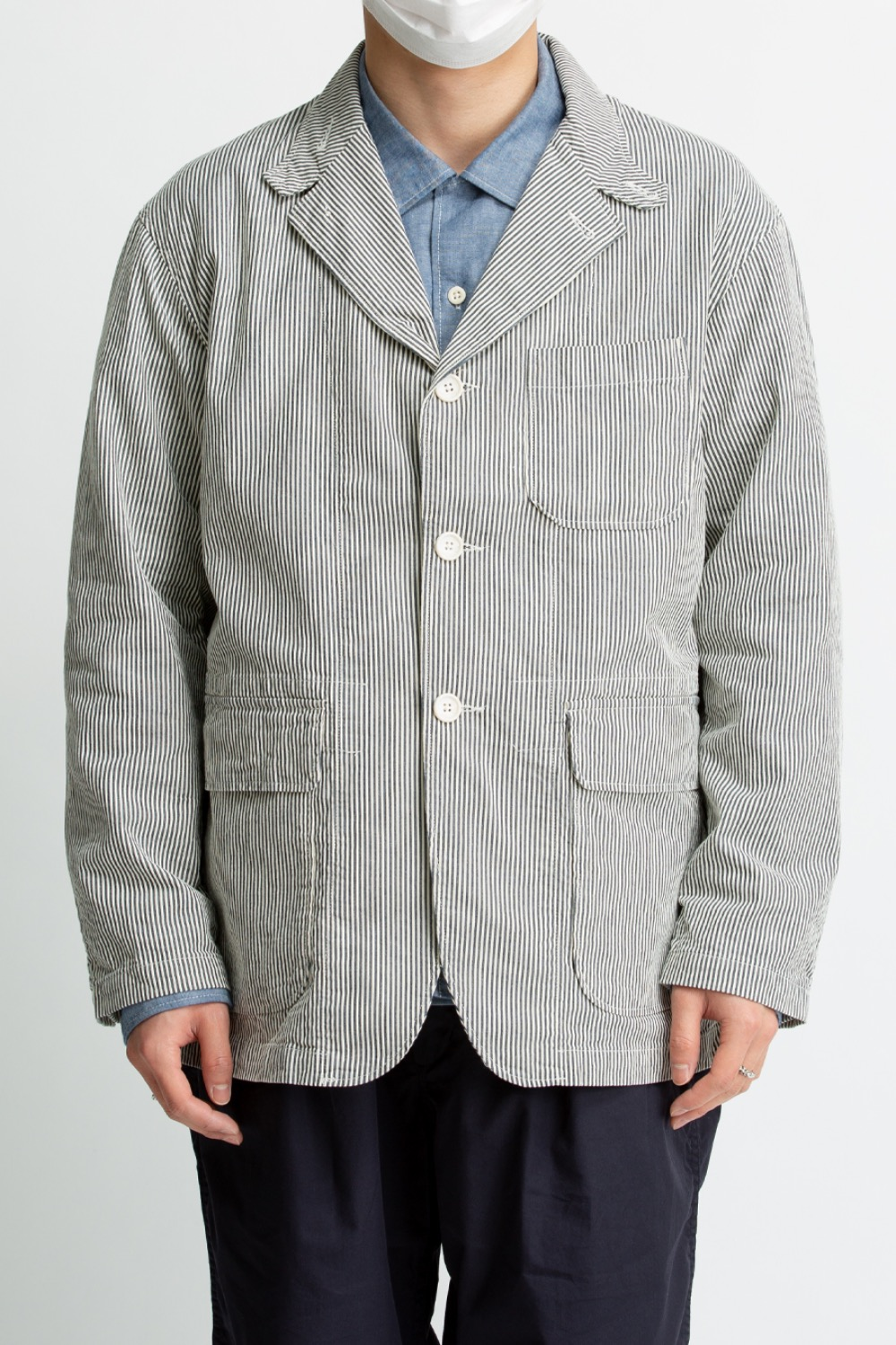 LOITER JACKET NAVY SEERSUCKER STRIPE