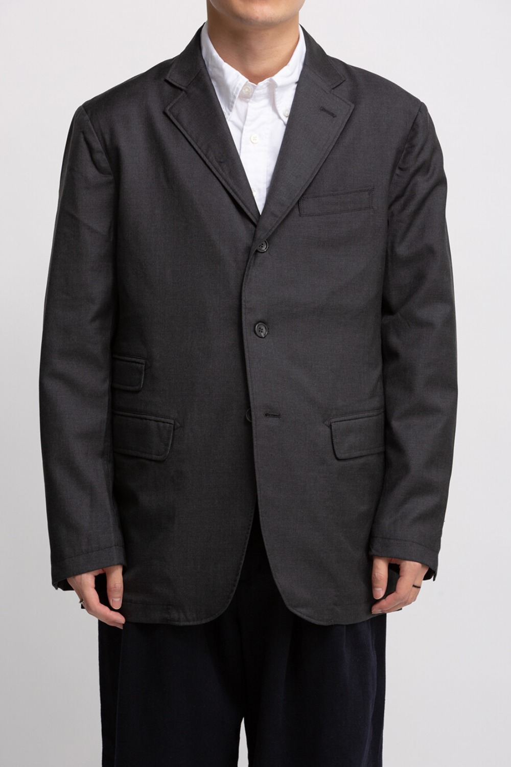 LAWRENCE JACKET CHARCOAL WORSTED WOOL GABADINE