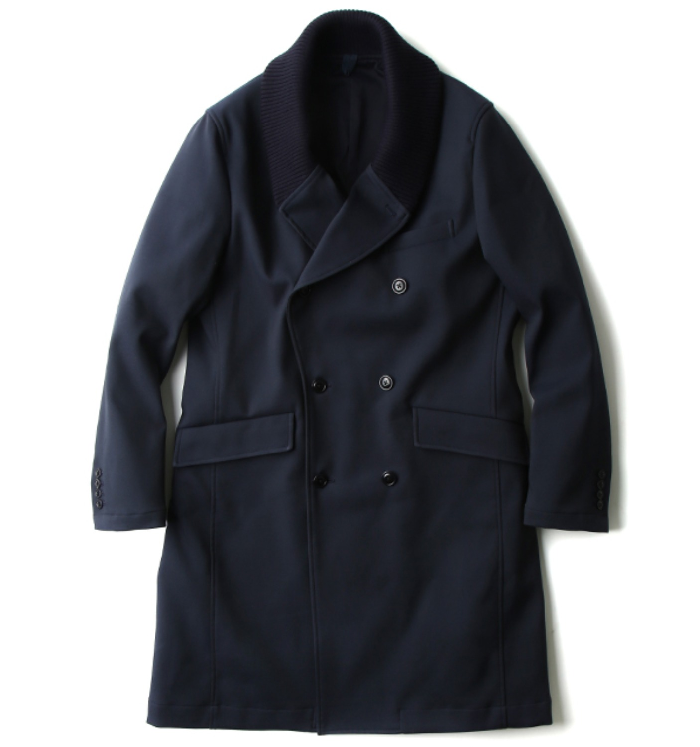 KNIT COLLAR DOUBLE-BRREASTED CHESTERFIELD COAT NAVY(KT37DC02)