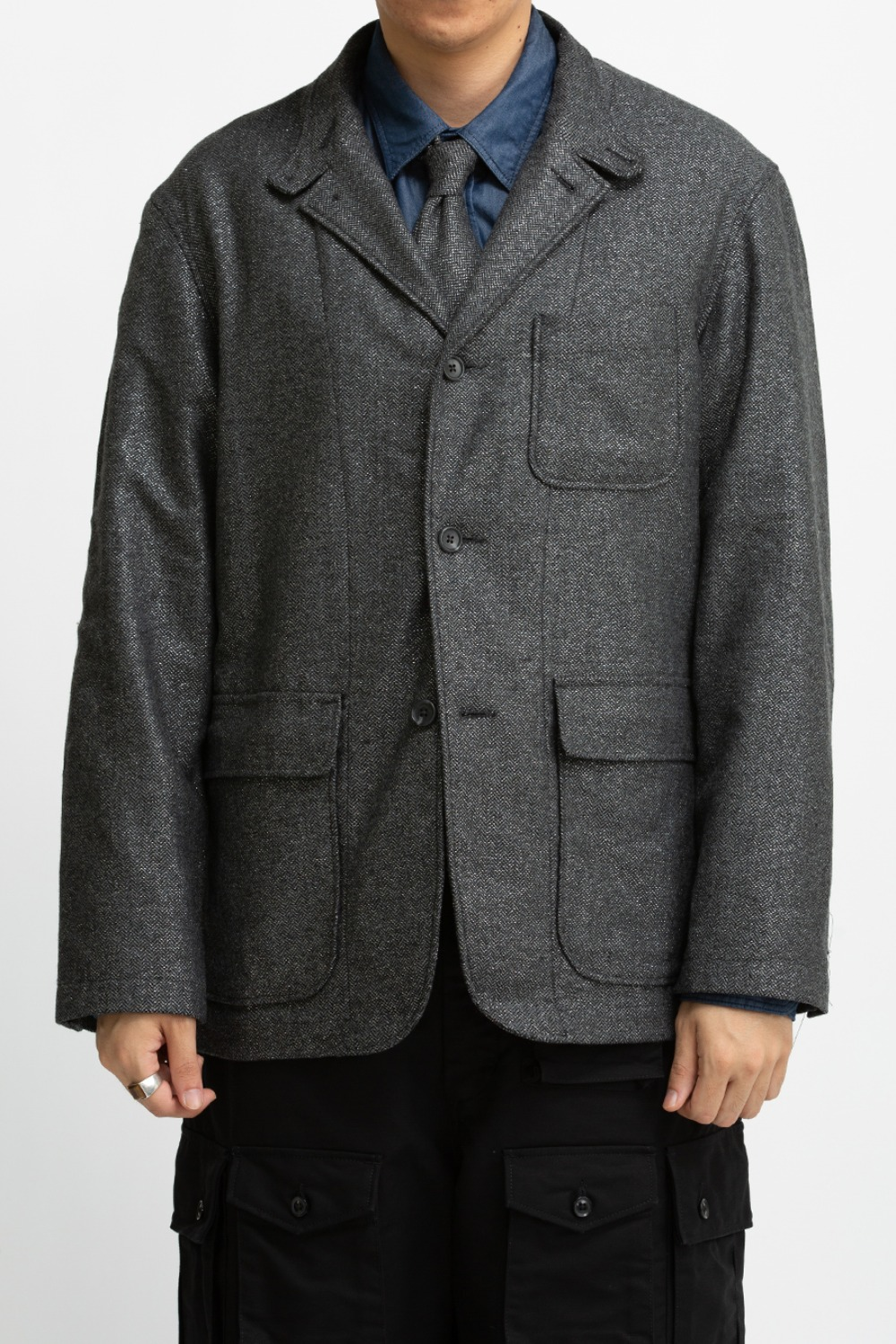 LOITER JACKET GREY WOOL POLY LUREX HERRINGBONE
