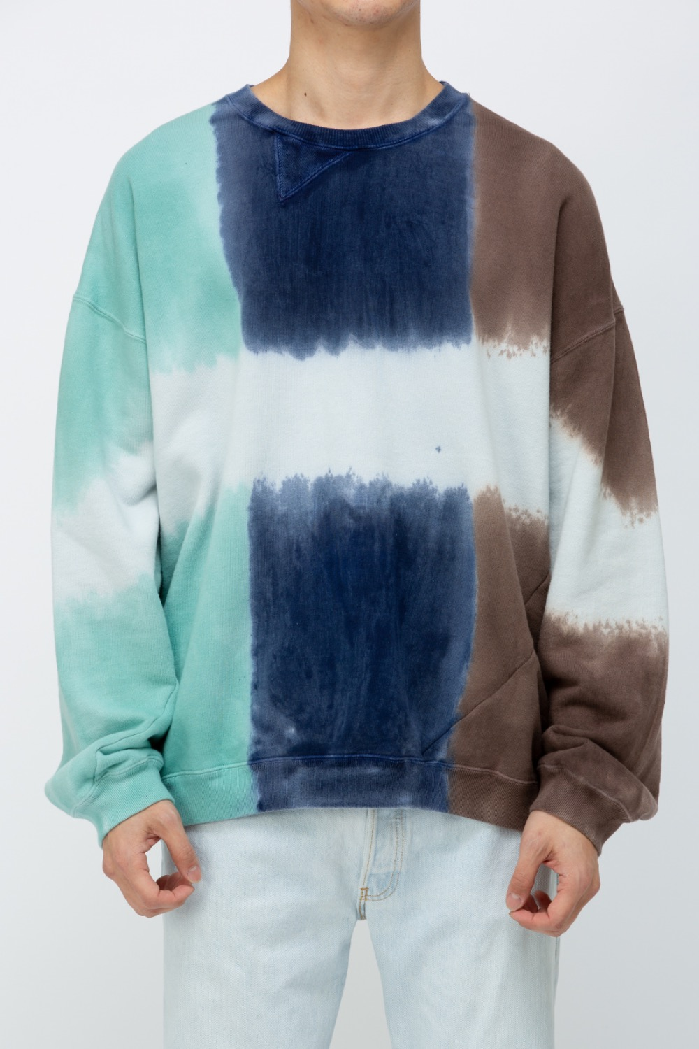 TWIST 3DYE SWEAT-NATURE MINT/NAVY