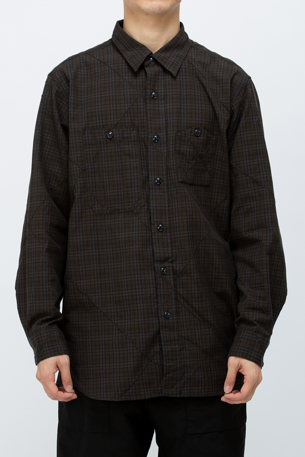 WORK SHIRT DK OLIVE COTTON PINTUCK SMALL PLAID