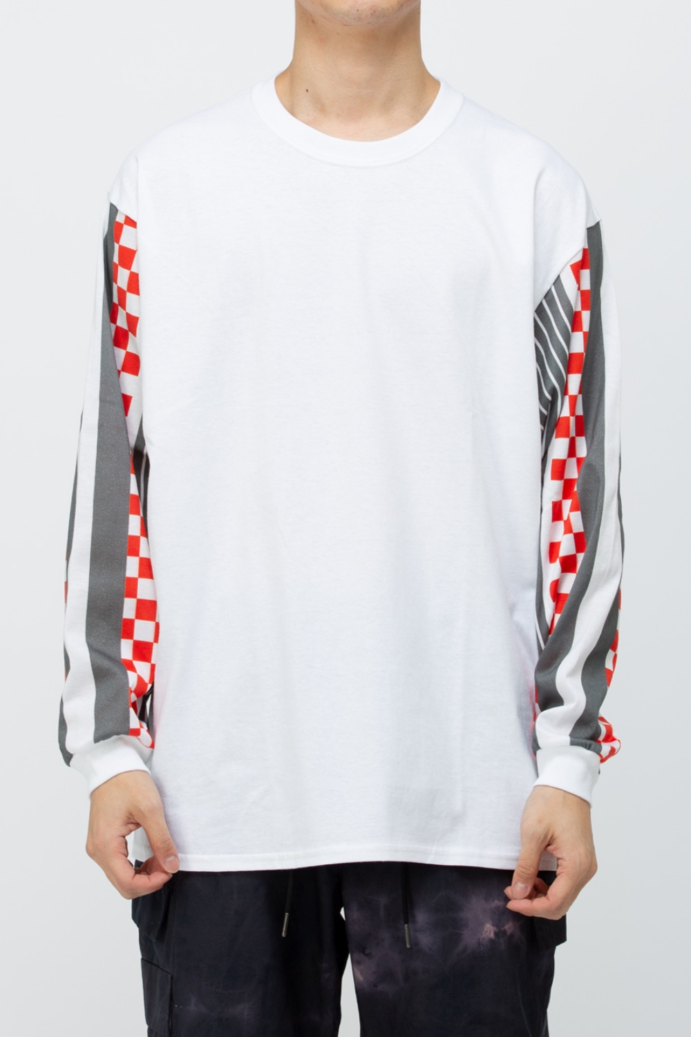 N STRIPE SLEEVE TEE WHITE/GREY