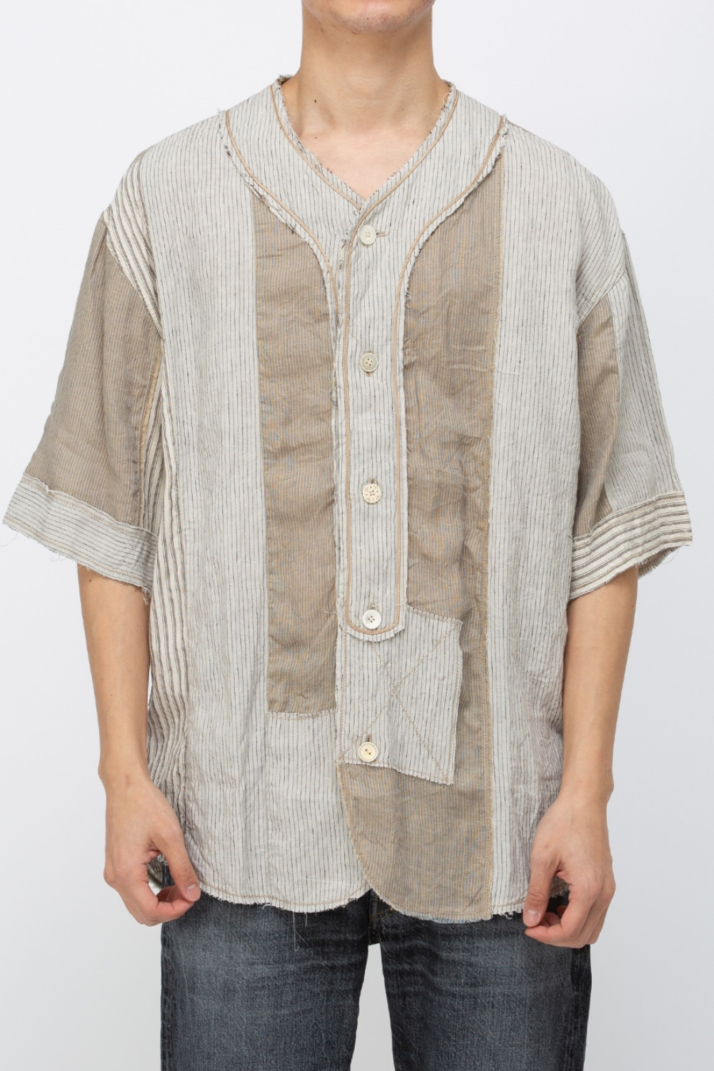 COTTON X LINEN STRIPE PATCHWORK BASEBALL SHIRT(#7) BEIGE