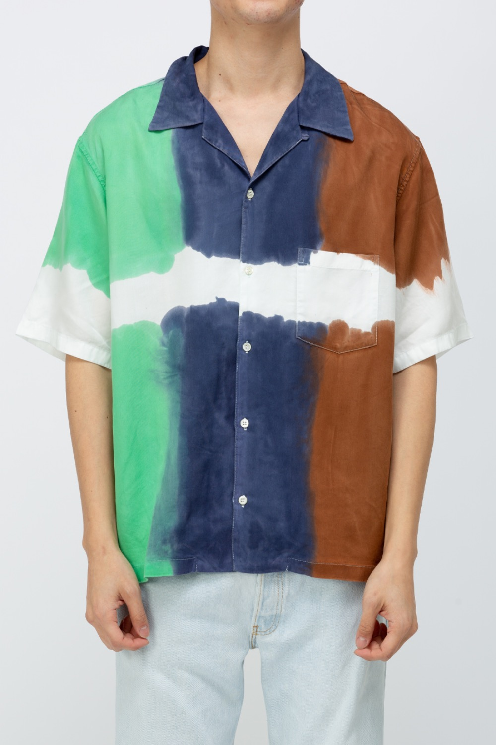3DYE SS  SHIRT-NATURE MINT/NAVY