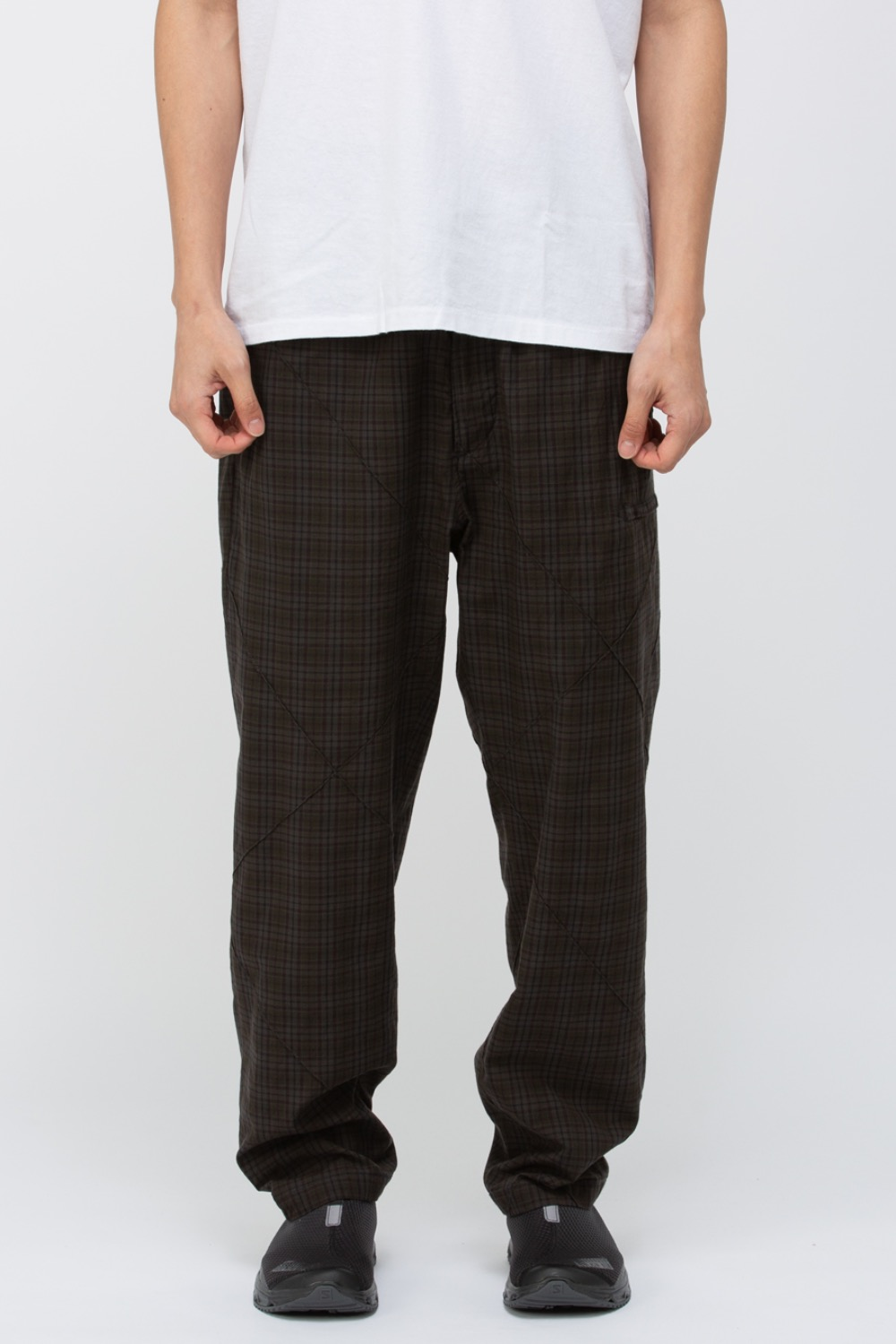 DRAWSTRING PANT DARK OLIVE COTTON PINTUCK SAMLL PLAID