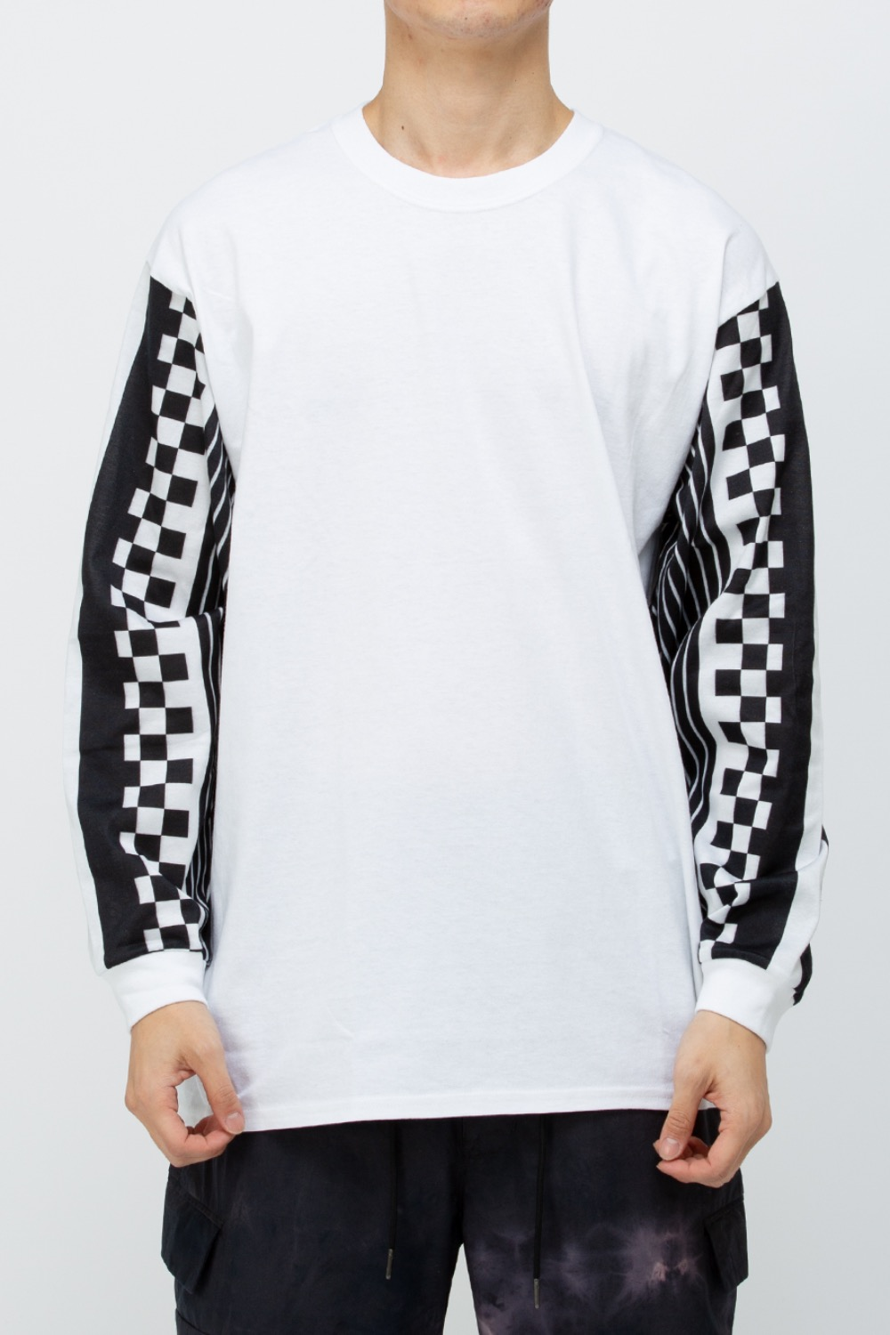 N STRIPE SLEEVE TEE WHITE/BLACK