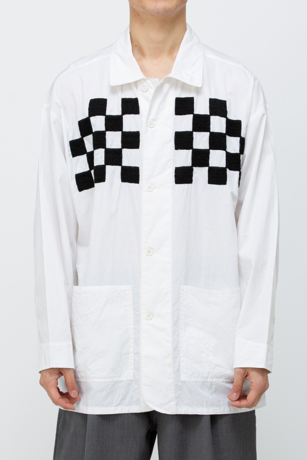CHECKER EMB. BLOUSON WHITE