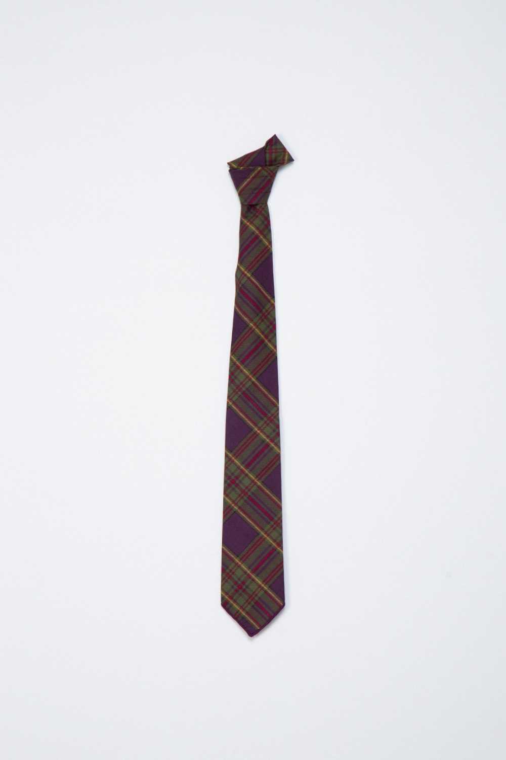 NECK TIE PURPLE GREEN COTTON PRINTED PLAID