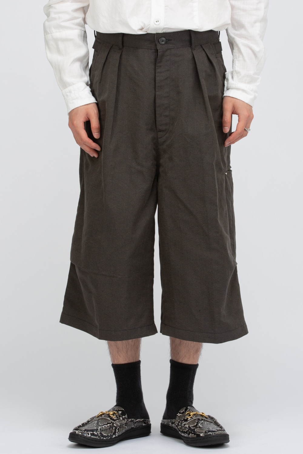 COTTON LINEN HERRINGBONE HIGH WATER SHORTS