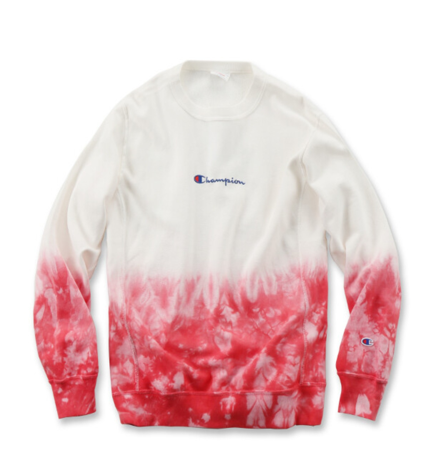 REVERSE WEAVE 10OZ TIE DYE CREW NECK SWEAT WHITE/RED(C3-Q012)