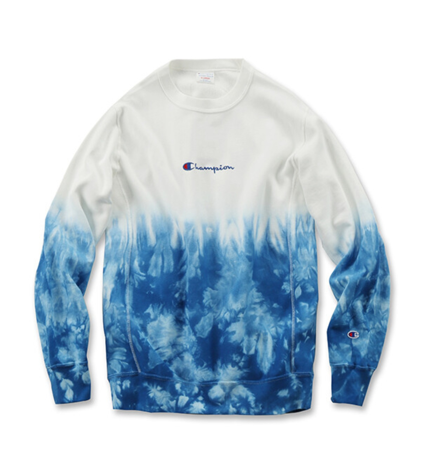REVERSE WEAVE 10OZ TIE DYE CREW NECK SWEAT WHITE/BLUE(C3-Q012)