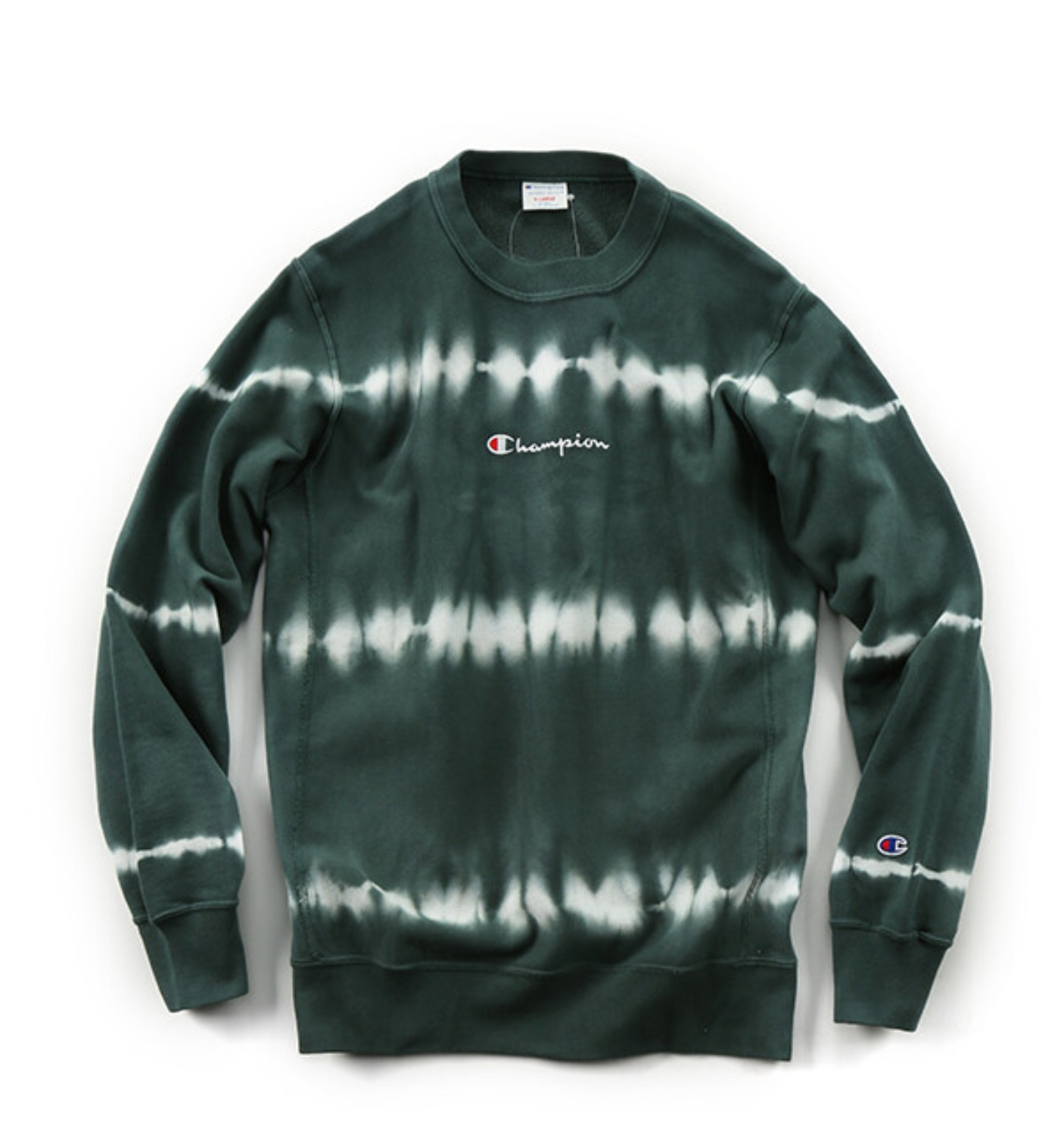 REVERSE WEAVE 10OZ TIE DYE CREW NECK SWEAT GREEN(C3-Q012)