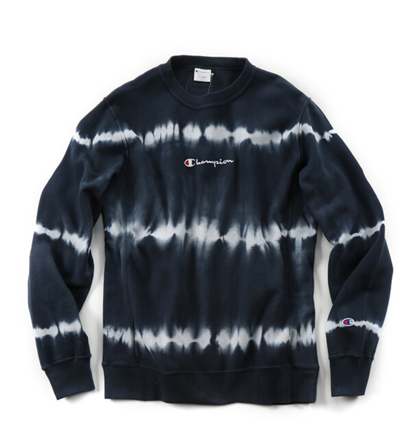 REVERSE WEAVE 10OZ TIE DYE CREW NECK SWEAT NAVY(C3-Q012)
