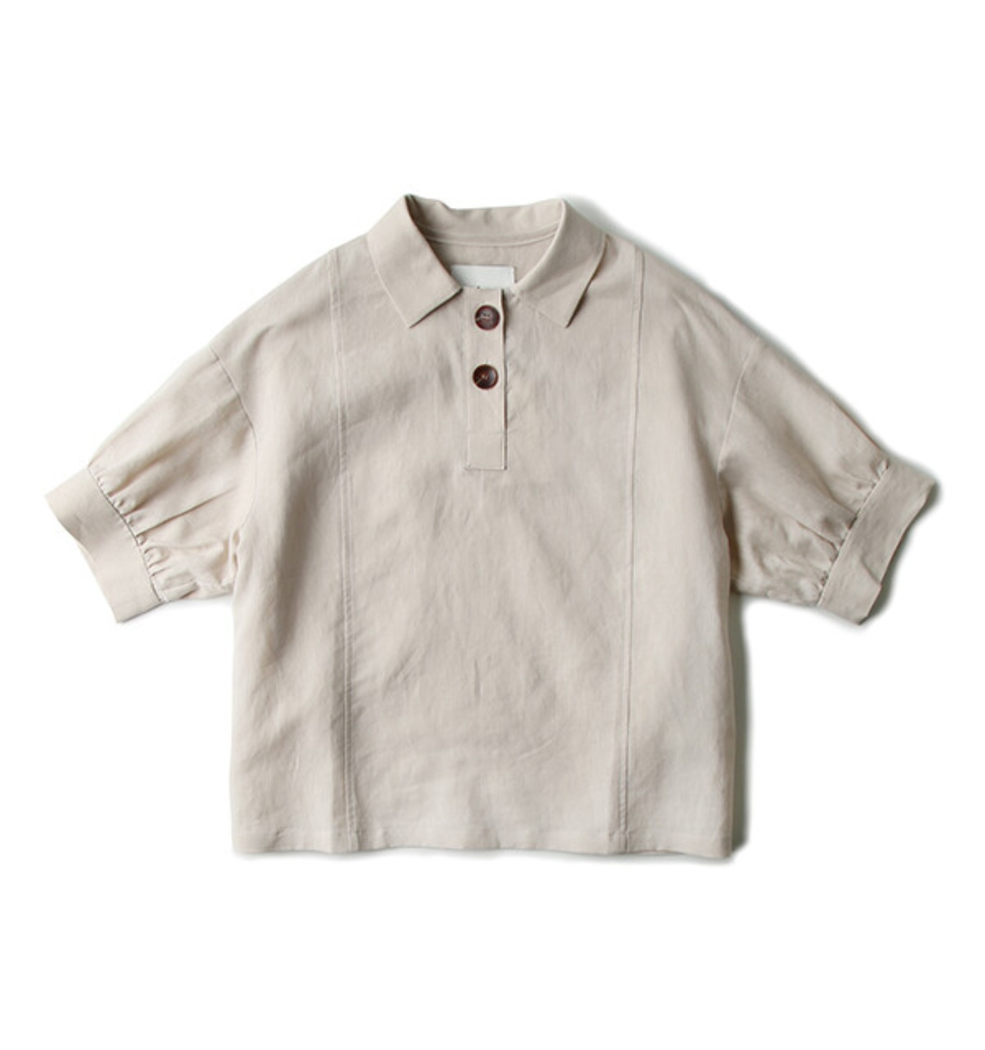 PUFF SLEEVE LINEN POLO TOP BEIGE (NT005004A)