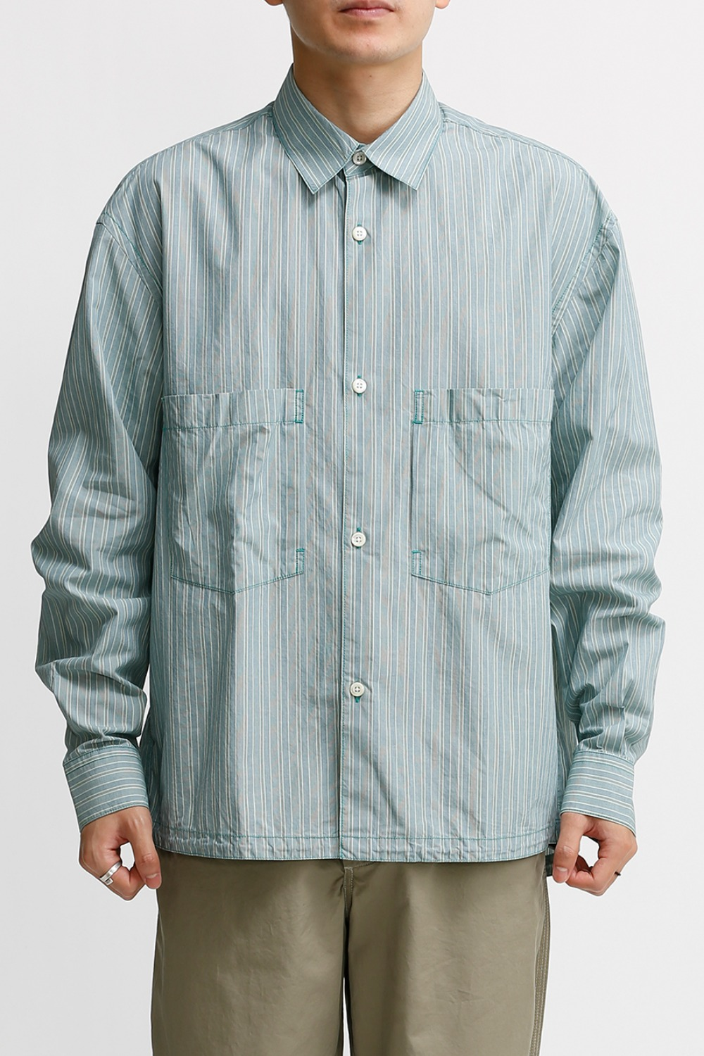 OVERSIZED SHIRT / PALE MINT & BLUE STRIPE