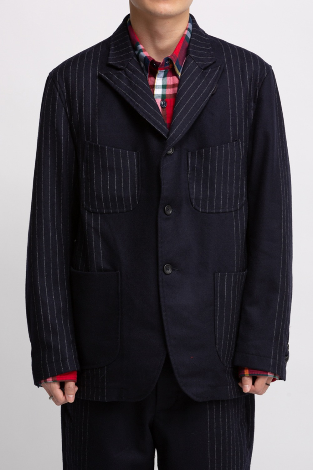 NB JACKET DARK NAVY WOOL CHALK STRIPE