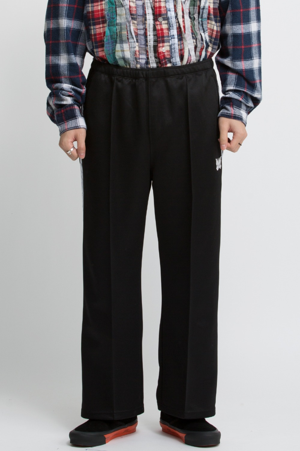 SIDE LINE SEAM POCKET PANT BRIGHT POLY JERSEY BLACK/WHITE