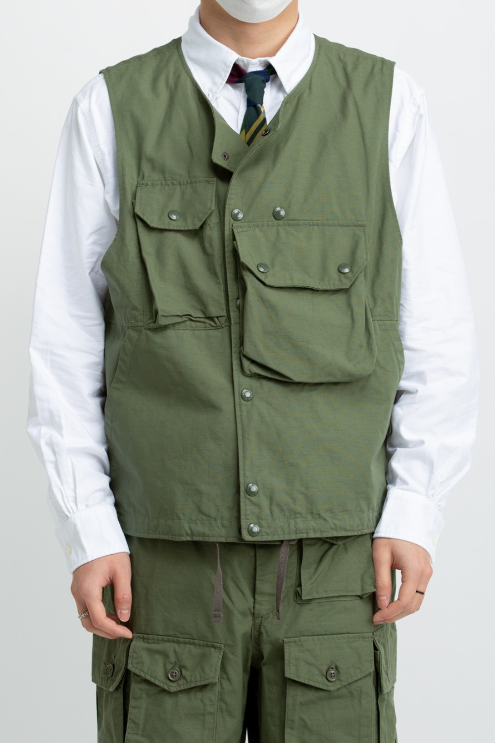 COVER VEST OLIVE COTTON RIPSTOP