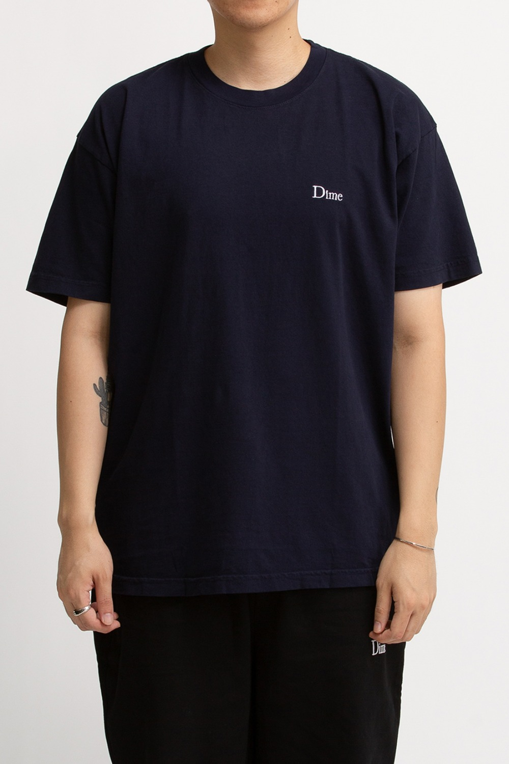 DIME CLASSIC LOGO EMBROIDERED T-SHIRT NAVY