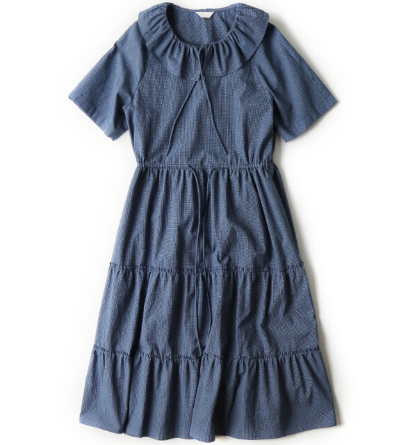 CALIN TIERED DRESS INDIGO DYED MICRO CHECK