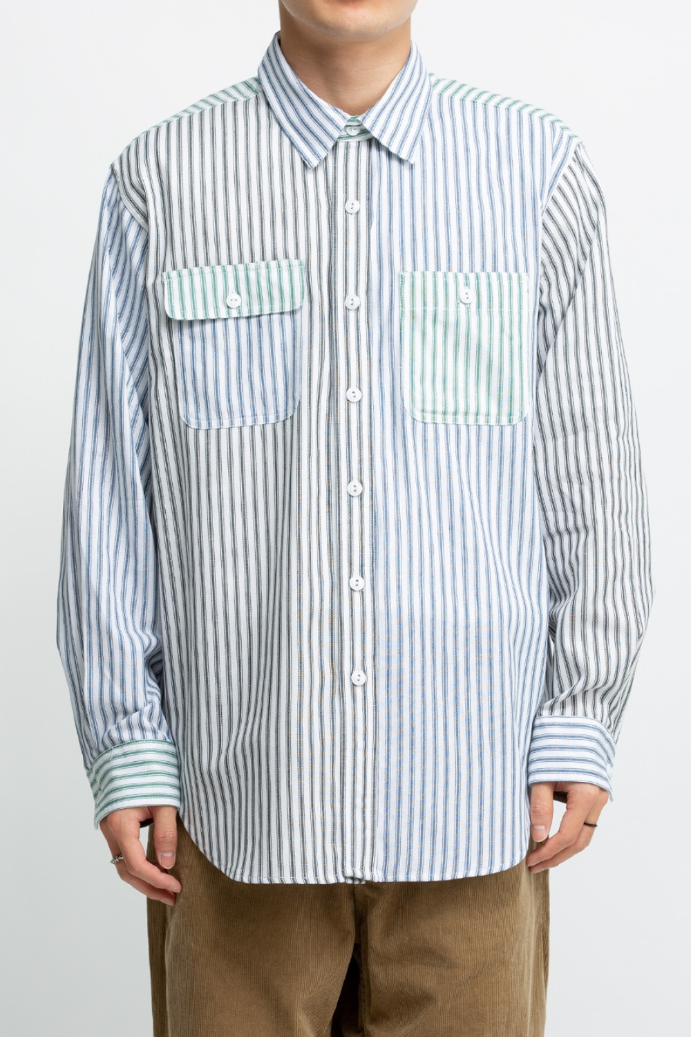UTILITY SHIRT COMBO BLUE WHITE COTTON TICKING STRIPE
