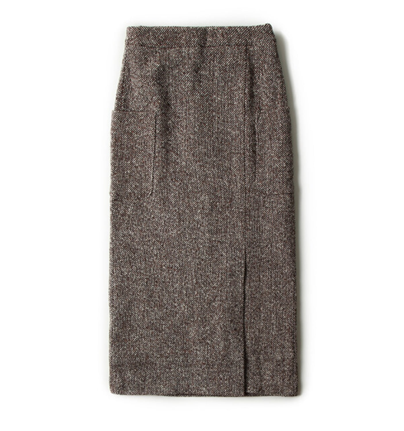 HIGHWAIST H-LINE SKIRT BROWN BIG HOMESPUN