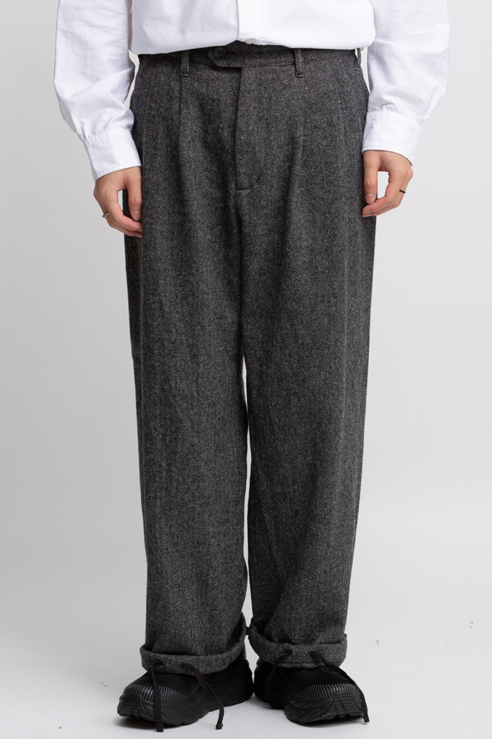 EMERSON PANT GREY POLY WOOL HERRINGBONE