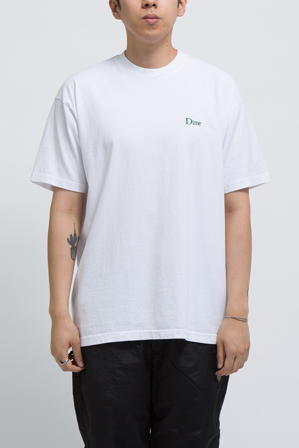 DIME CLASSIC EMBROIDERED T-SHIRT WITE