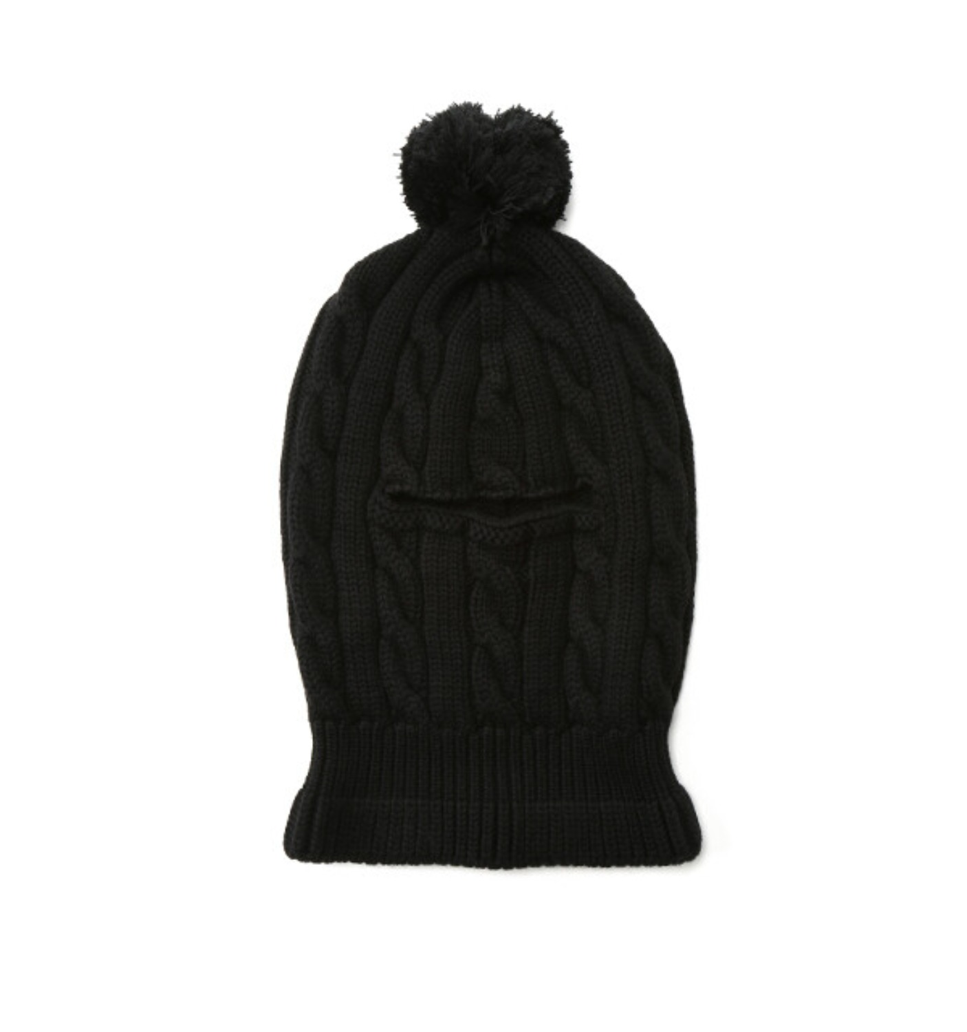 POM POM BEANIE BLACK WOOL CABLE KNIT