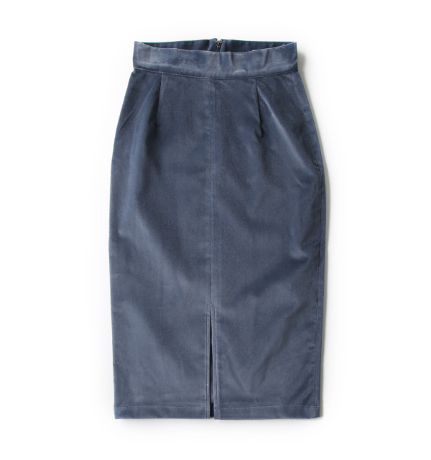 DE VELVET PENCIL SKIRT CEMENT BLUE