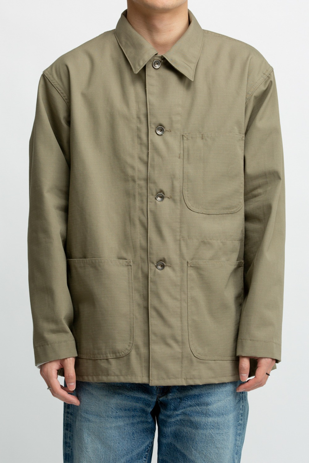 UTILITY JACKET KHAKI COTTON RIPSTOP