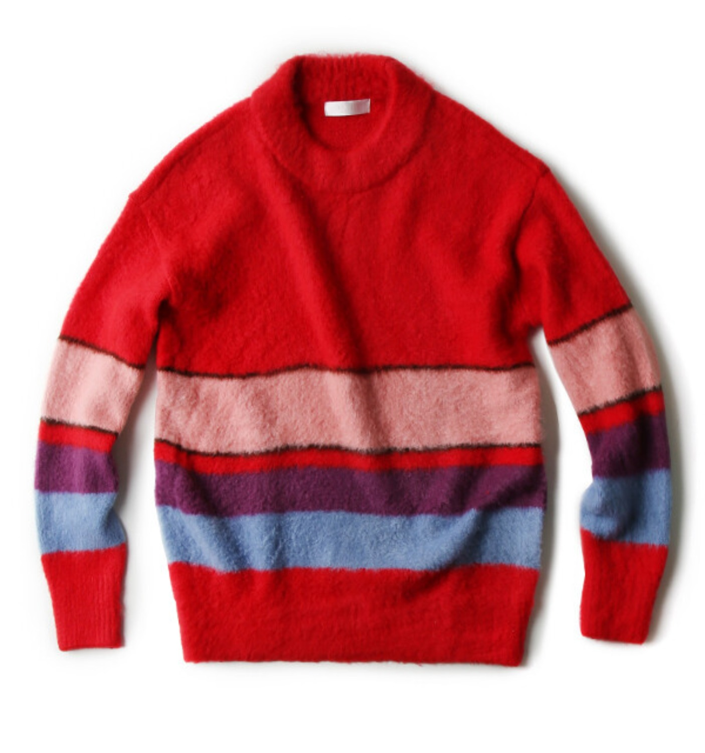 COLOR STRIPE PULLOVER KNIT FLAME RED