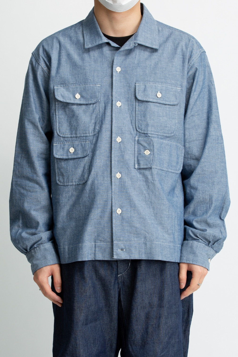 BOWLING SHIRT BLUE COTTON CHAMBRAY