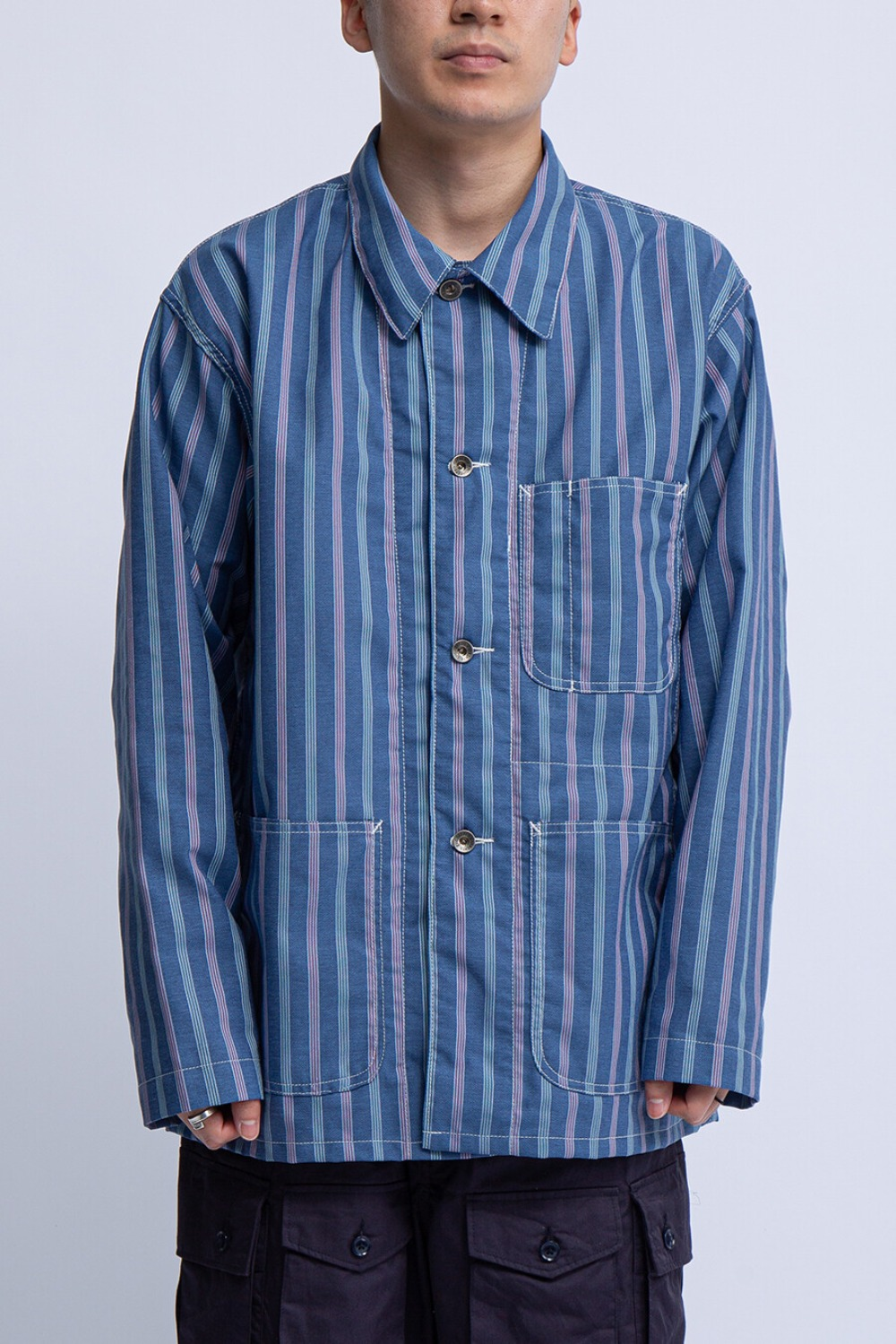 UTILITY JACKET BLUE MULTI WORKERS STRIPE