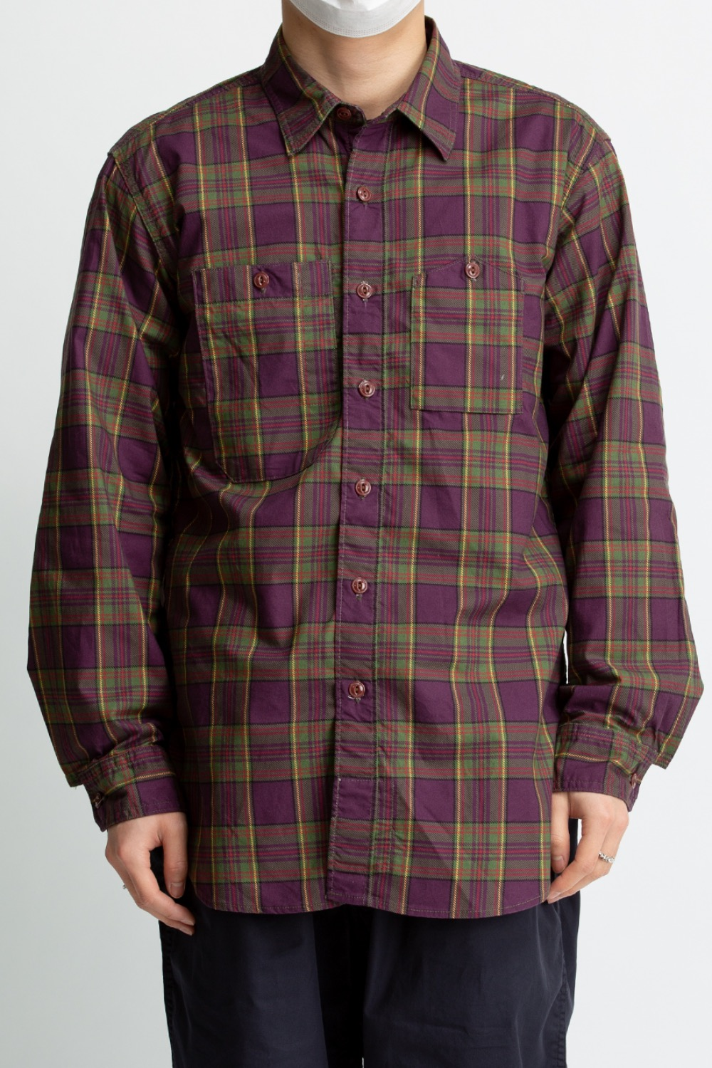 WORK SHIRT PURPLE/GREEN COTTON PRINTED PLAID