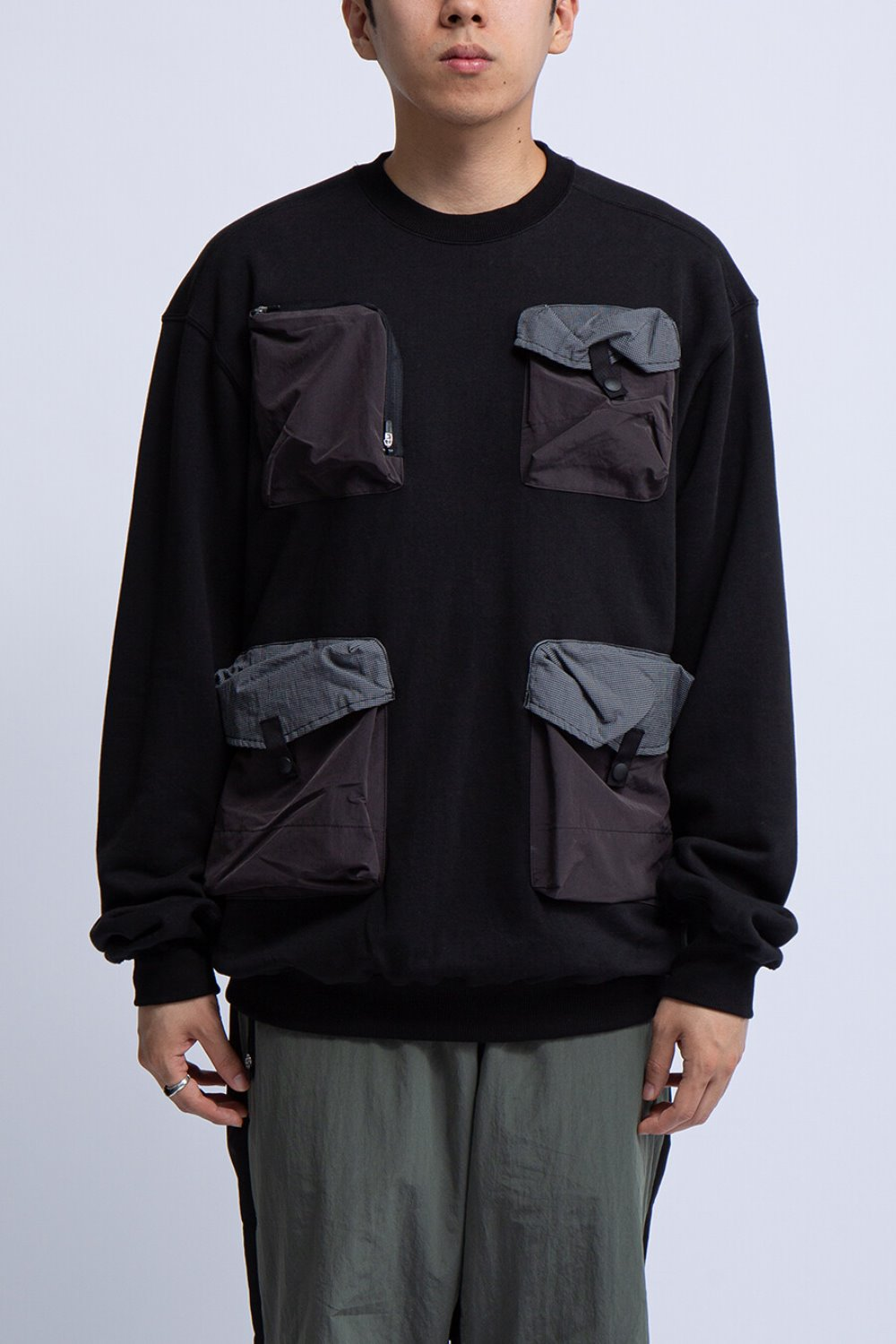 UTILITY CREW SWEAT SHIRT(BAL-1890) BLACK