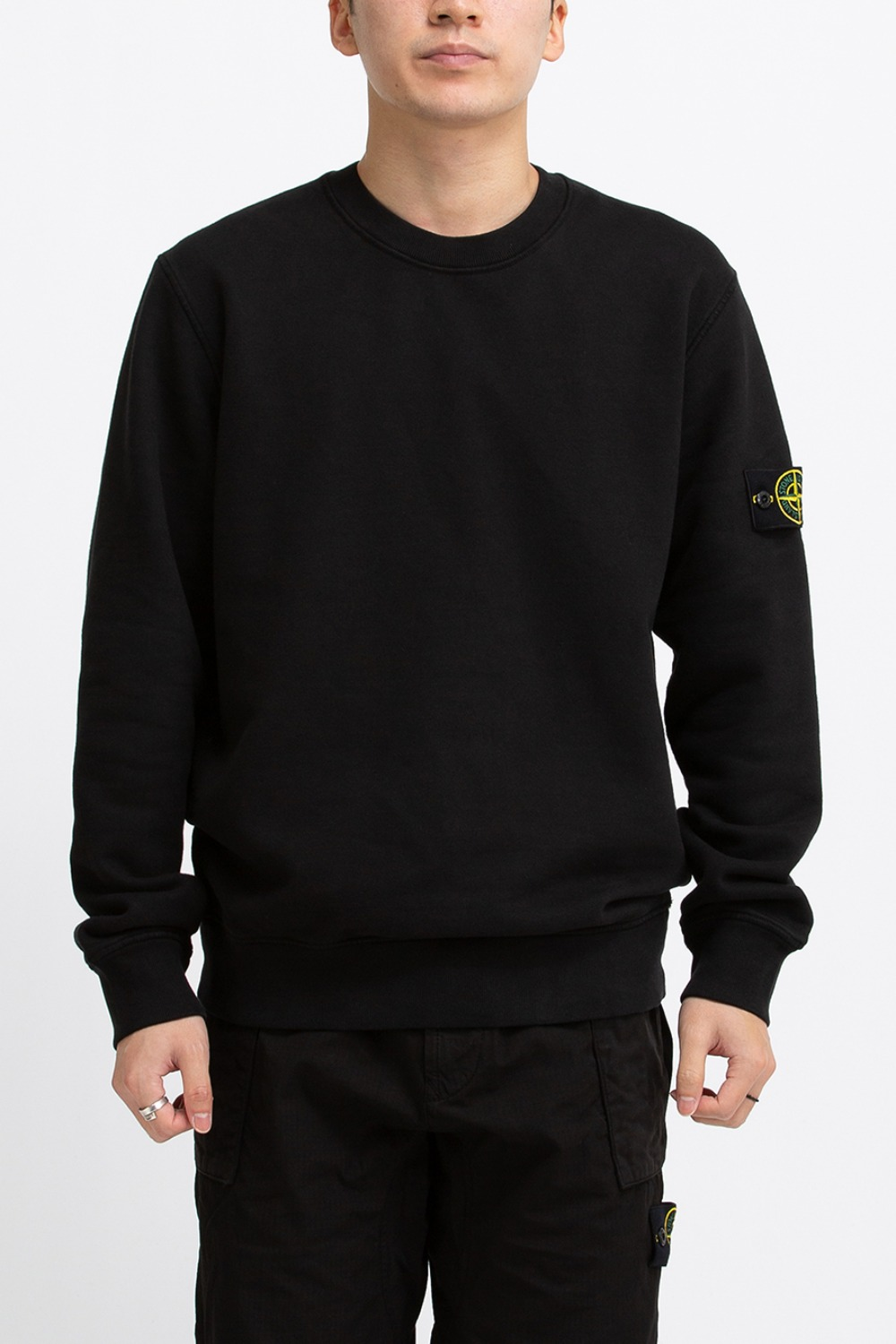 BRUSHED COTTON FLEECE GARMENT DYED SWEATSHIRT BLACK