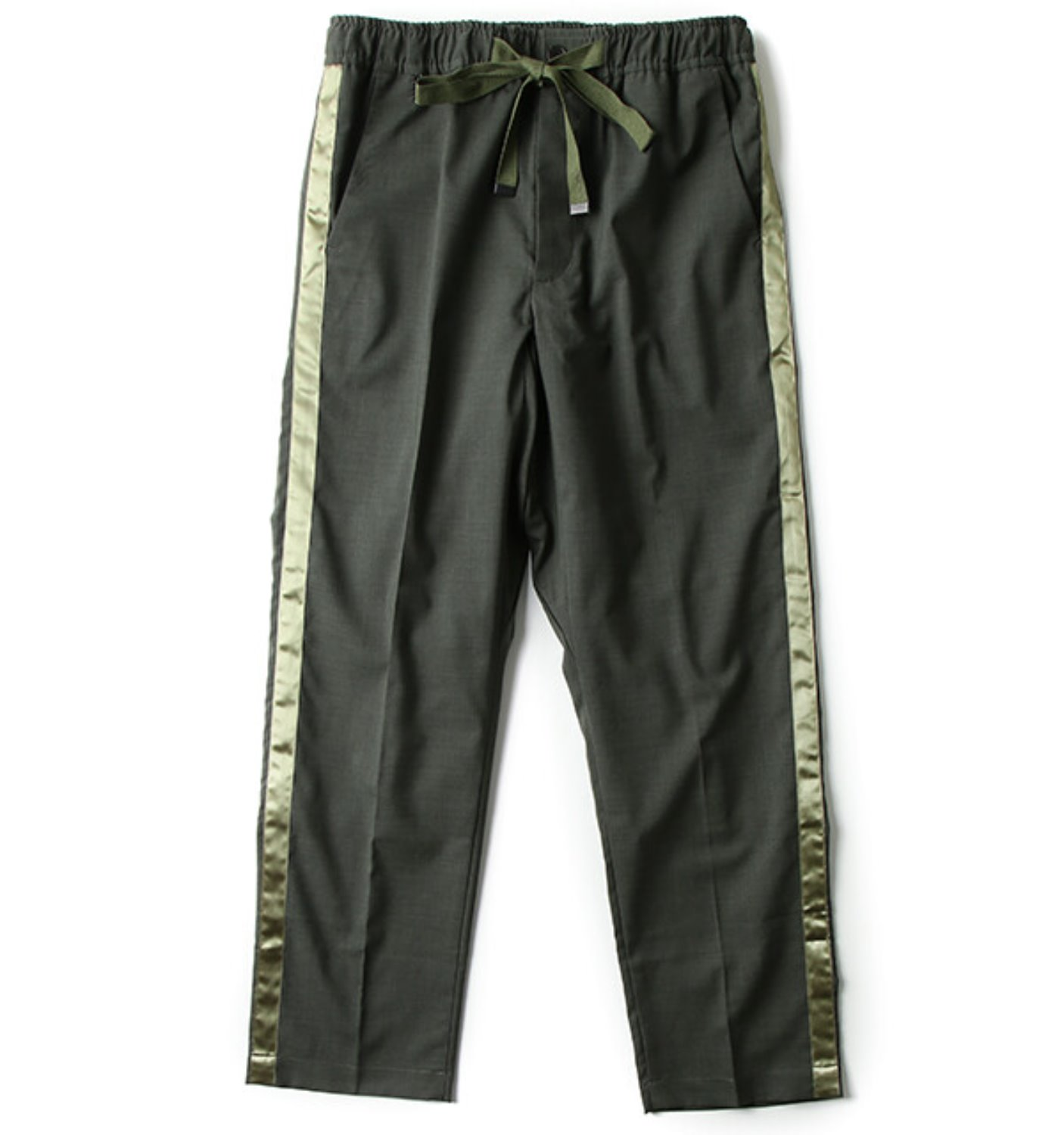 WOOL SIDE STRIPE PANT OLIVE