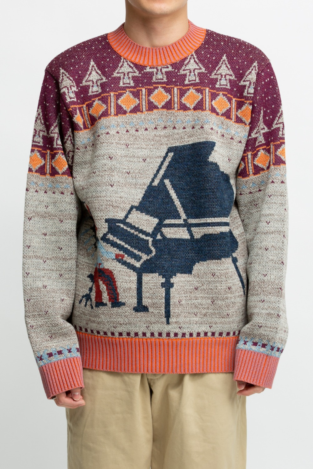 7G KNIT ALASKA CAMP PIANO CREW SWEATER