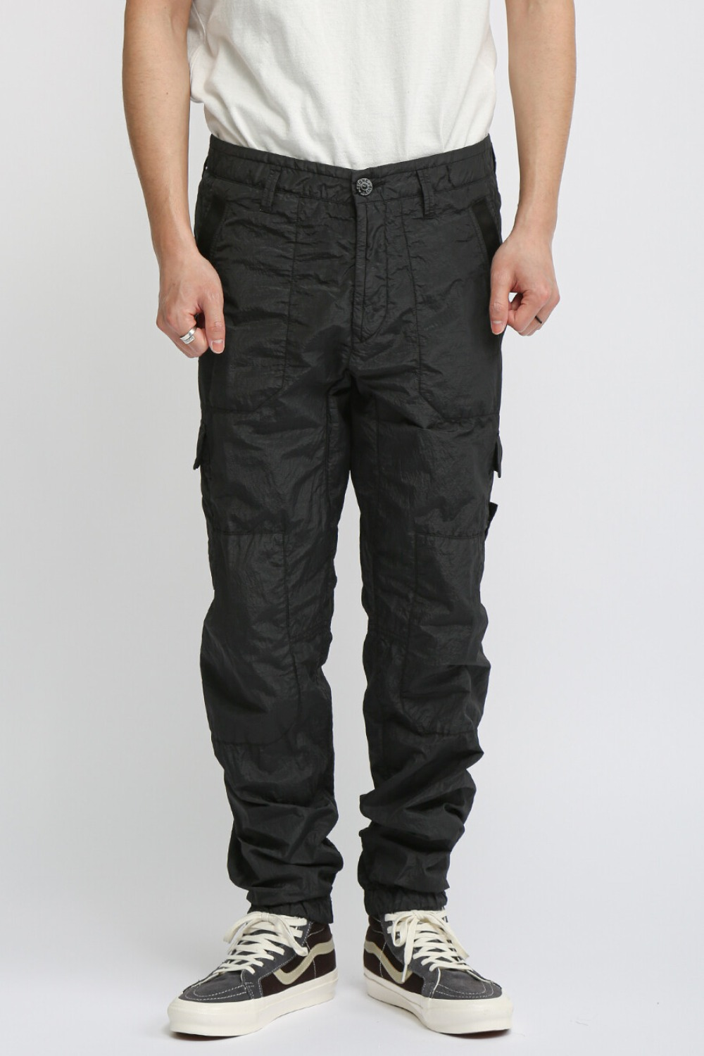 S.I.PA/PL SEERSUCKER-TC CARGO PANTS BLACK