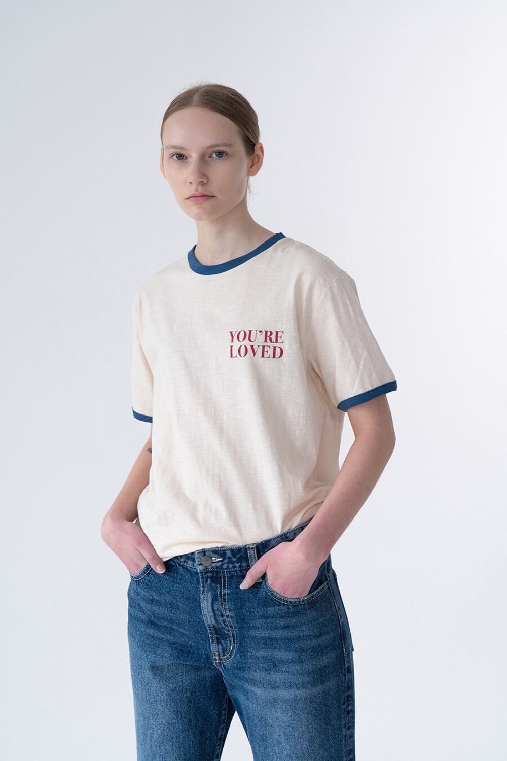 LOVED T-SHIRT IVORY + BLUE RIB