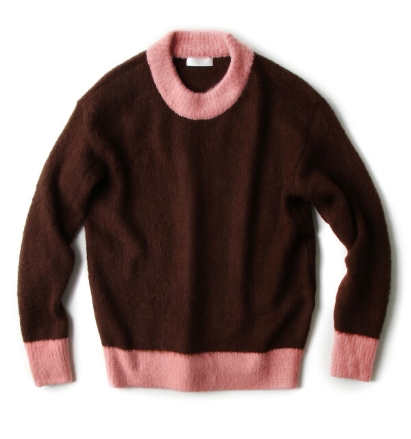 COLOR BLOCK PULLOVER KNIT BROWN/PINK