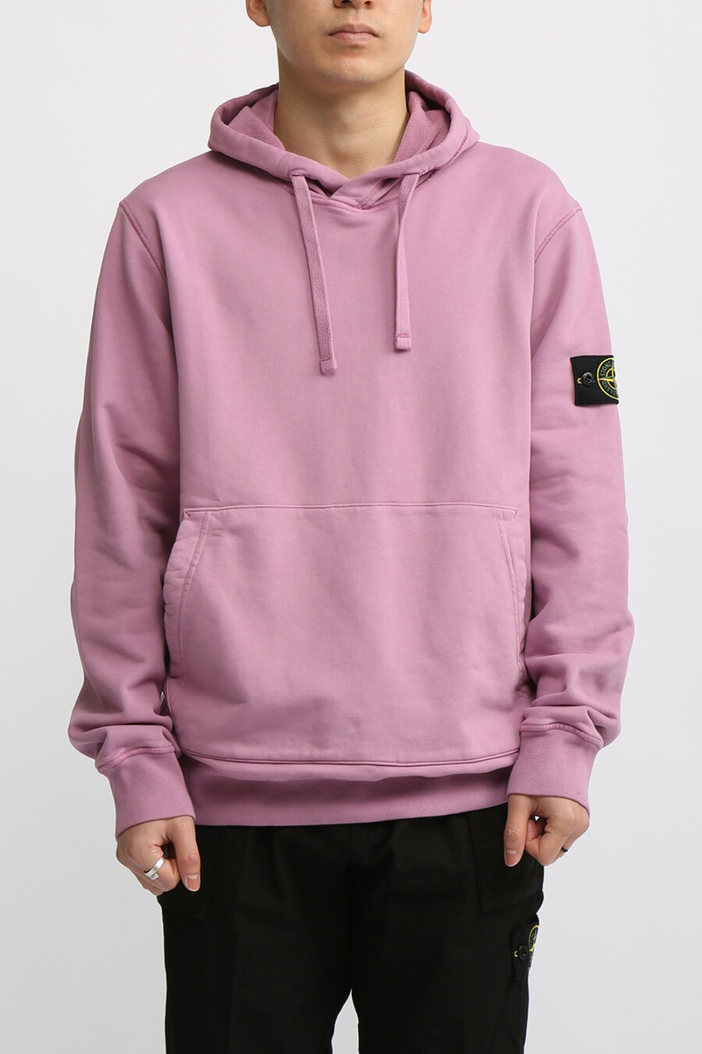 COTTON FLEECE GARMENT DYED HOODED SWEAT SHIRT PINK